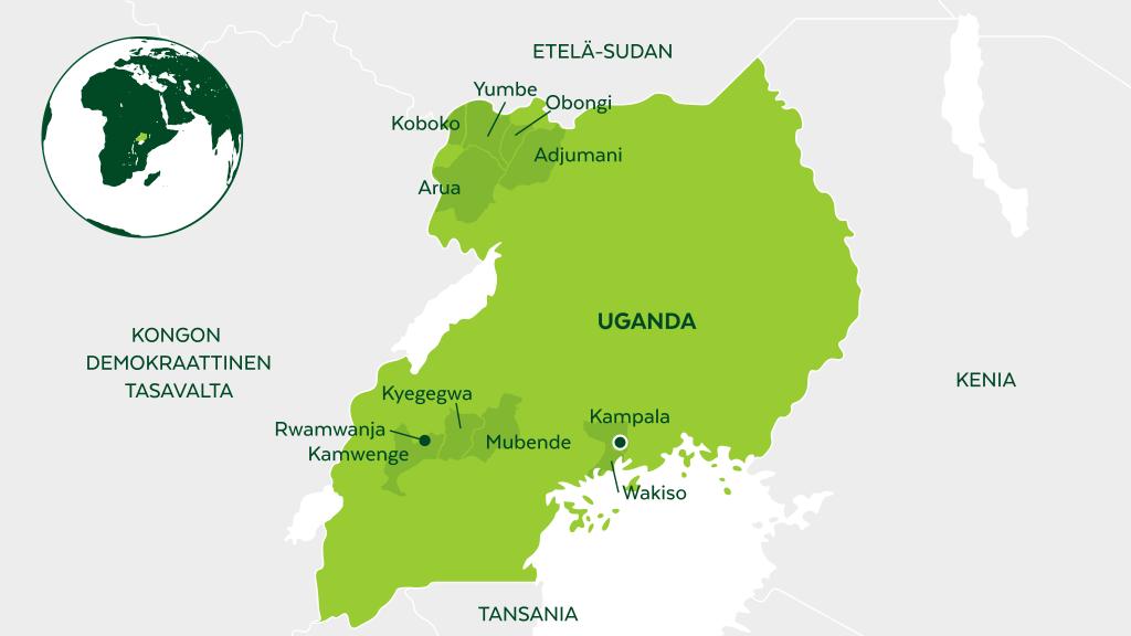 Kirkon Ulkomaanapu tukee Ugandassa laadukasta koulutusta, kestäviä toimeentulomuotoja ja rauhantyötä.