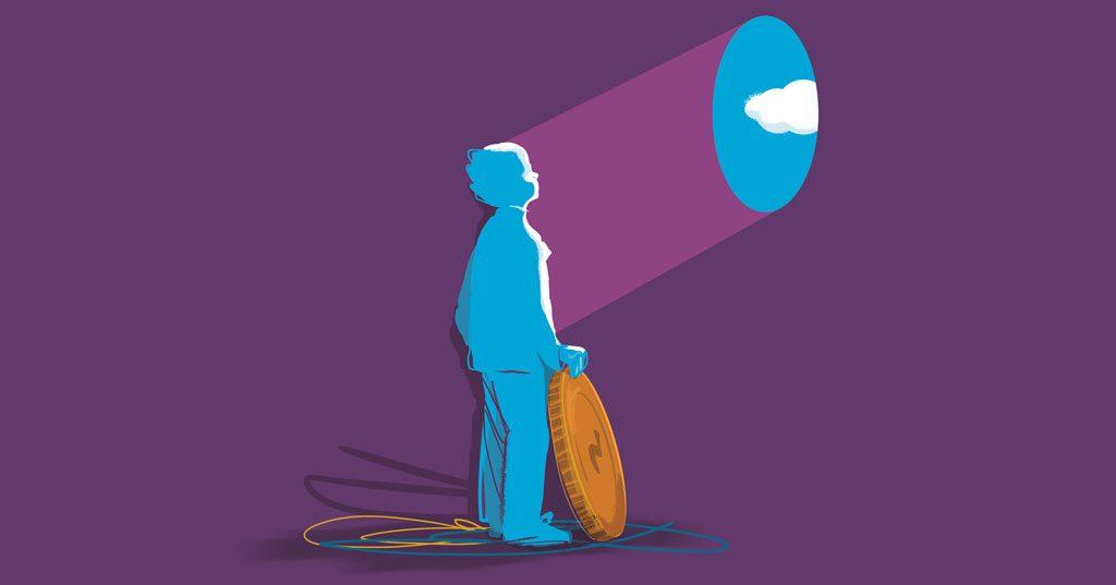 Kuvituskuva ihmisestä, joka on poistanut kolikon seinästä ja kolikon mallisesta aukosta tulee valoa hänen kasvoilleen.
