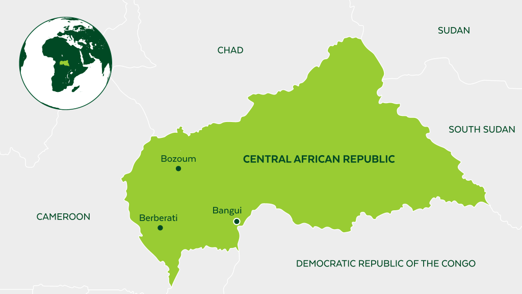 Map of Central African Republic and neighboring countries.
