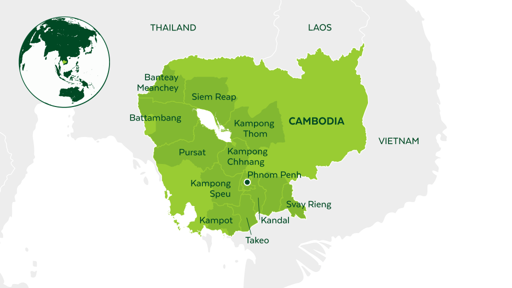 Map of Cambodia and neighboring countries