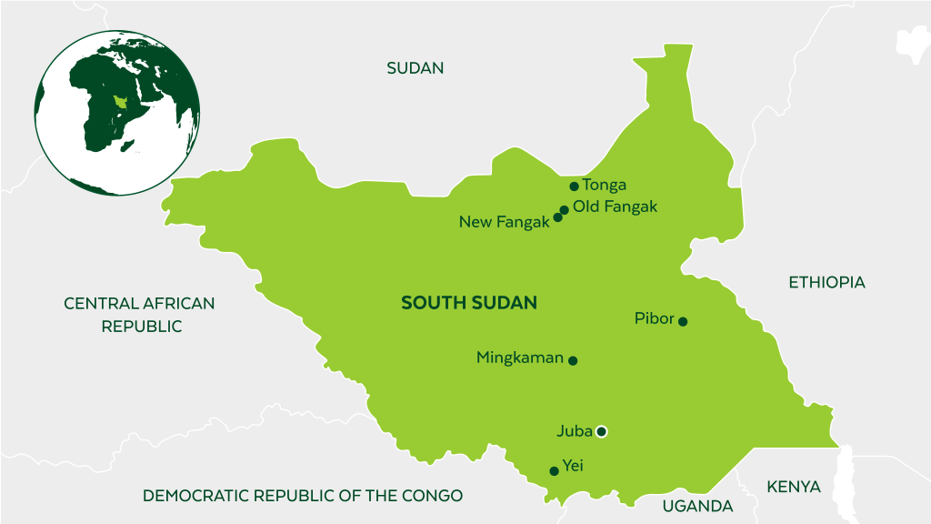 Map of South Sudan and neighboring countries.