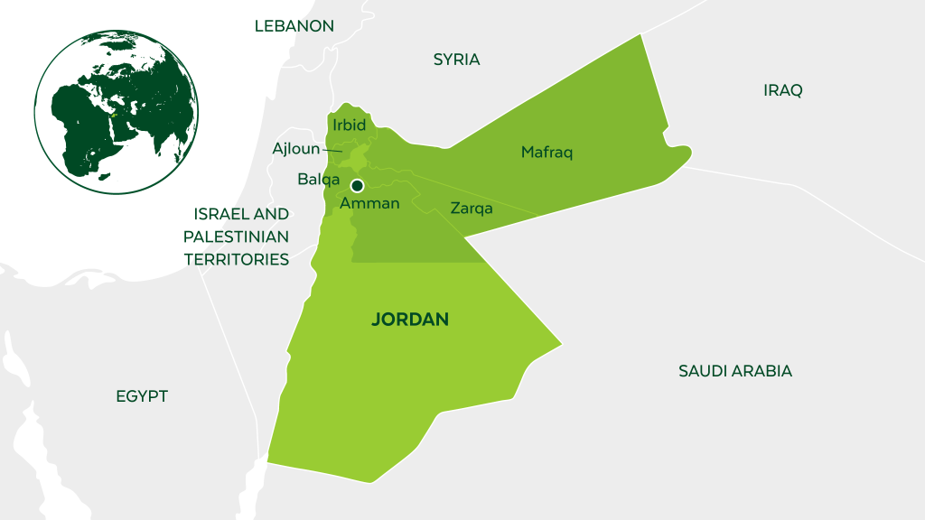 Map of Jordan and neighboring countries.