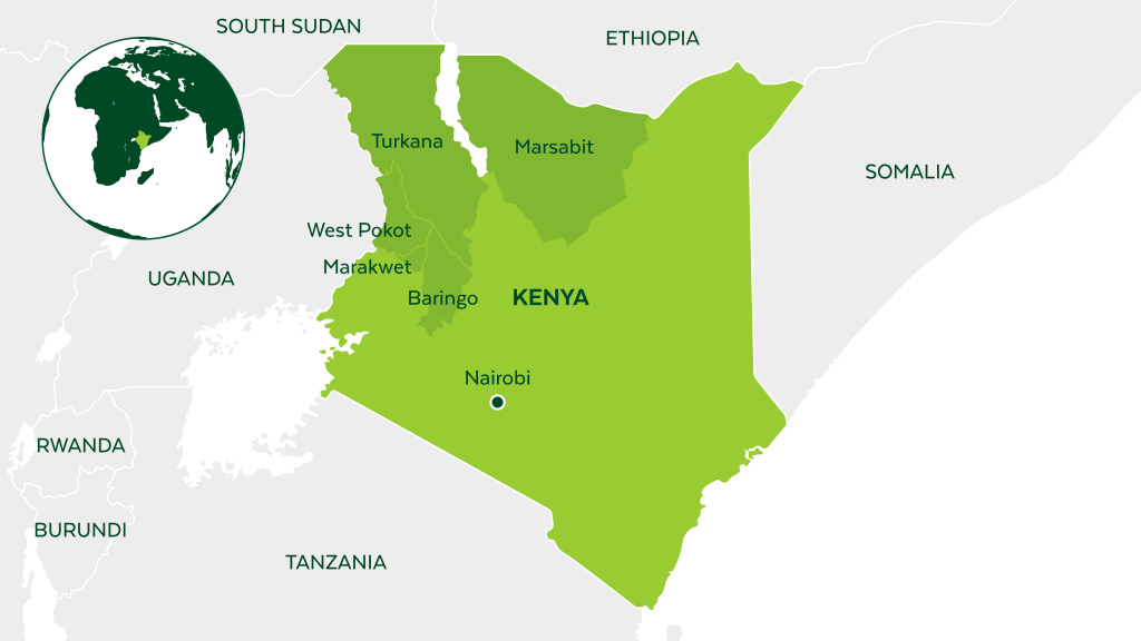 Map of Kenya and neighboring countries.