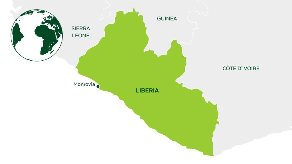 Map of Liberia and neighboring countries.