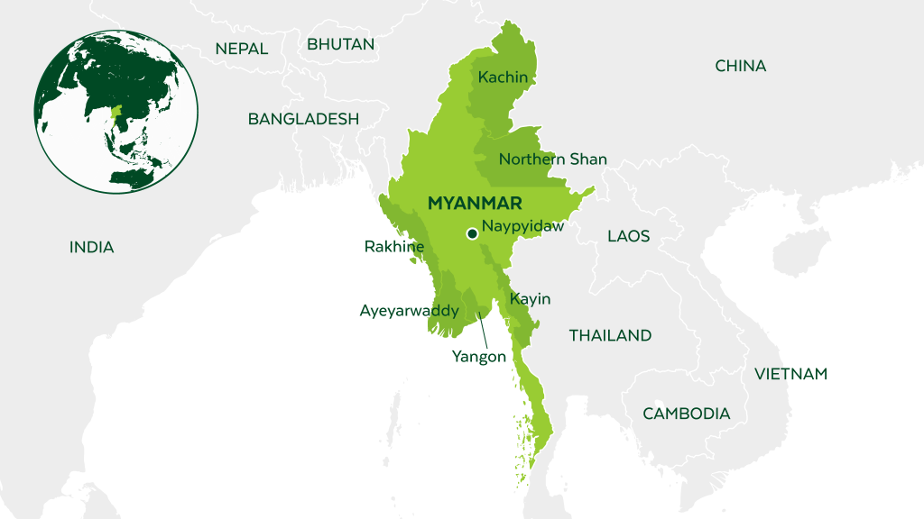 Map of Myanmar and neighboring countries.