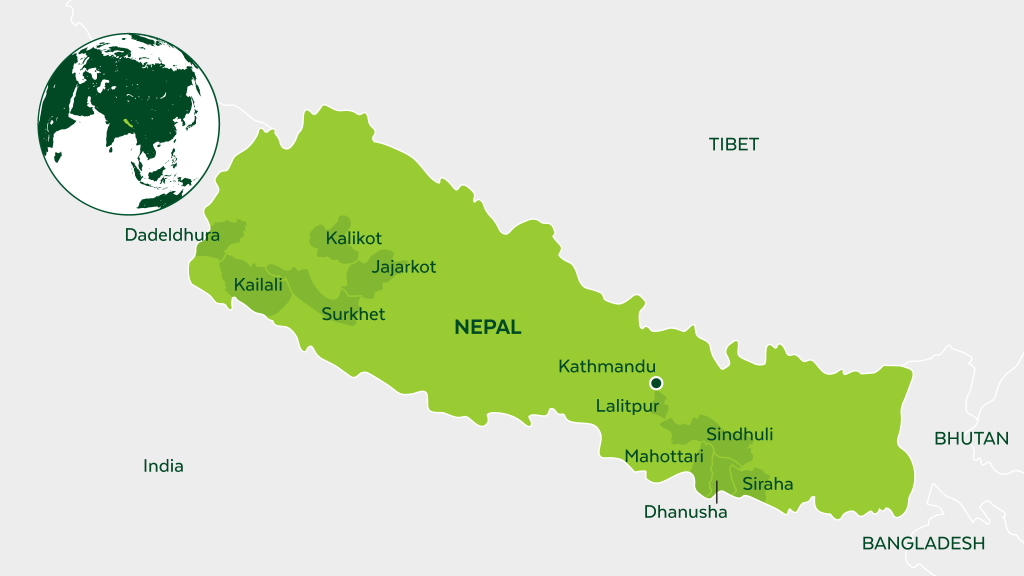 Map of Nepal and neighboring countries.
