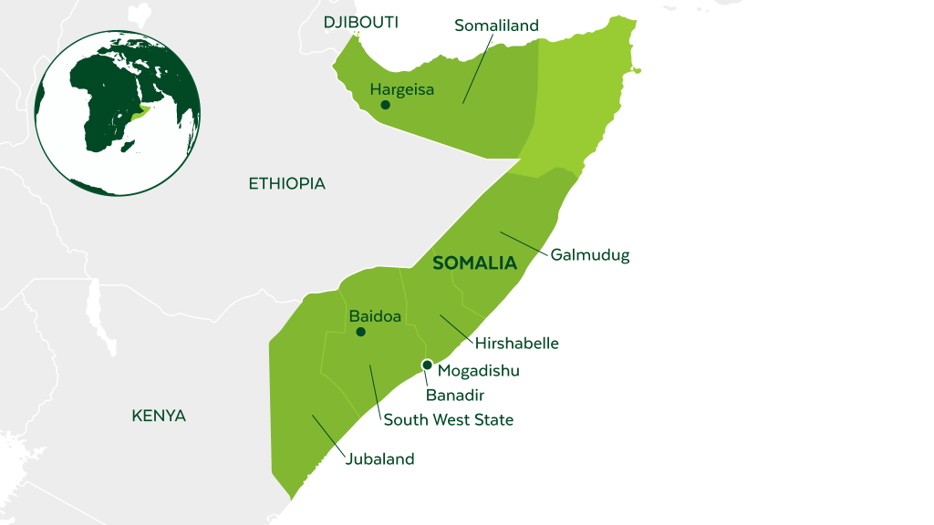 Map of Somalia and neighboring countries.