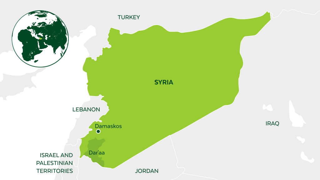 Map of Syria and neighboring countries.