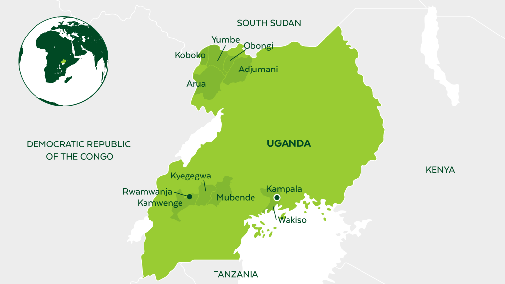 Map of Uganda and neighboring countries.