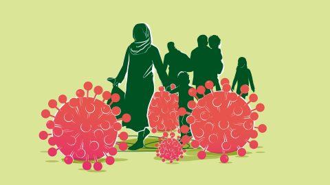 Kuvituskuva kävelevistä ihmisistä ja jättisuurista koronaviruksista heidän välissään.