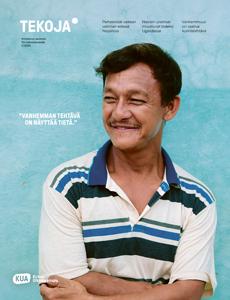 Tekoja-lehden kannessa nepalilainen hymyilevä mies.