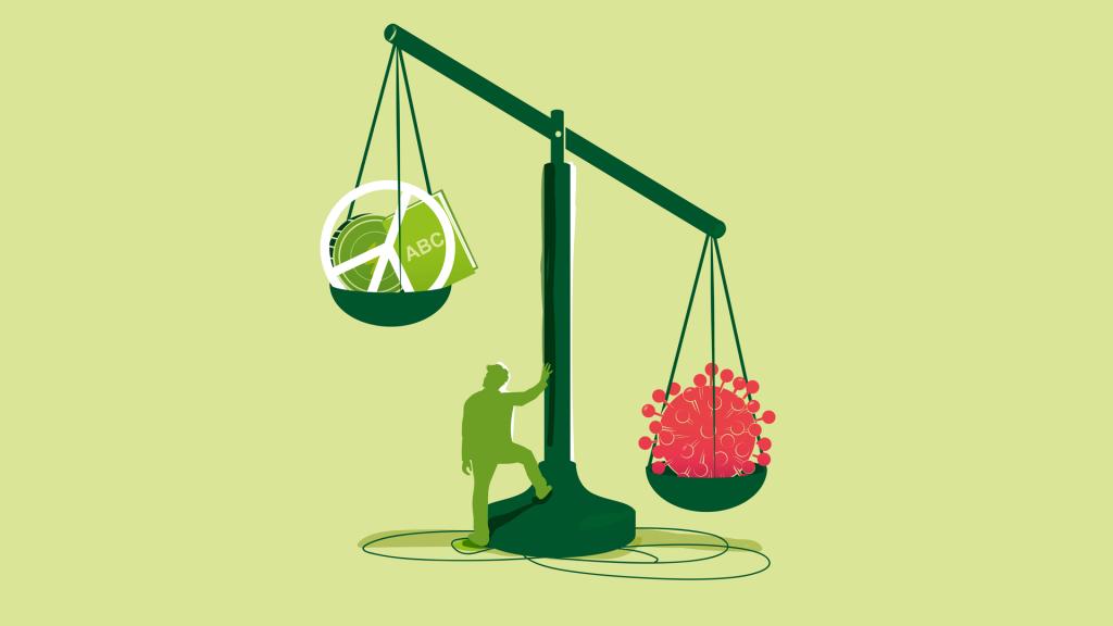 Kuvituskuva vaa'asta, jossa koronavirus painaa enemmän kuin aapinen ja rauhanmerkki.