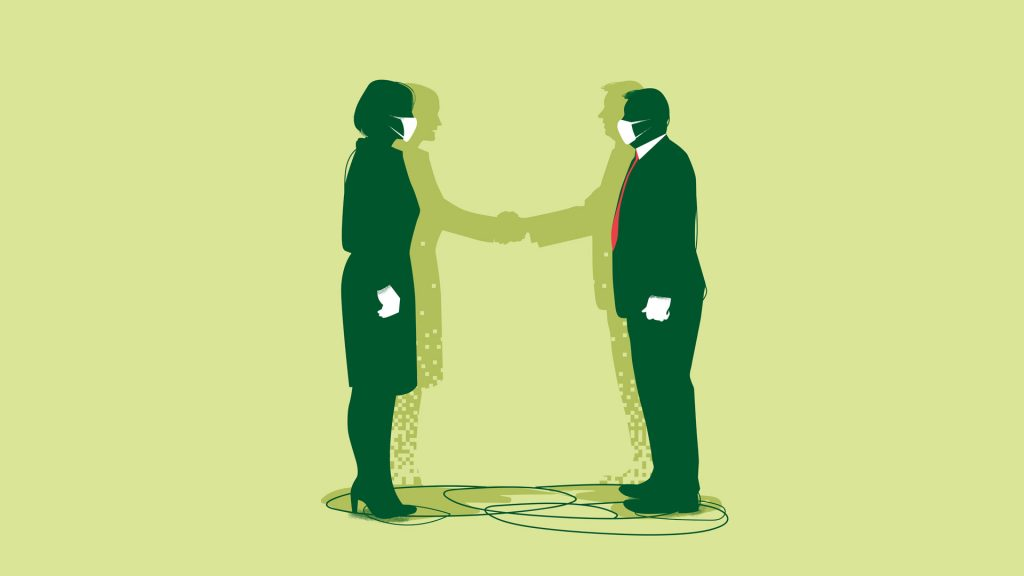 In the illustration, a man and a woman stand face to face with face masks on. Their shadows consisting of pixels, shake hands.