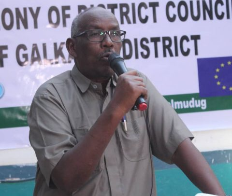 Galmudug State Minister of Interior and local government H.E Abdi Mohamed Wayel speaking.