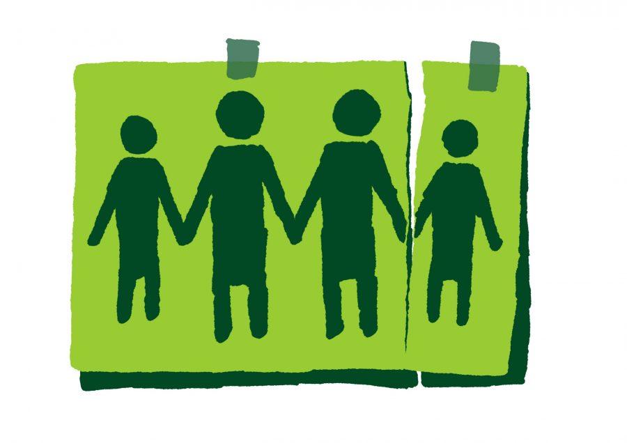 Piirroskuva neljästä hahmosta, jotka pitävät toisiaan kädestä