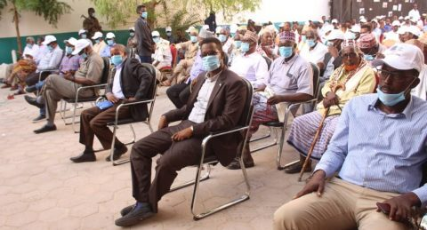 Participants in a district council formation meeting in Somalia.