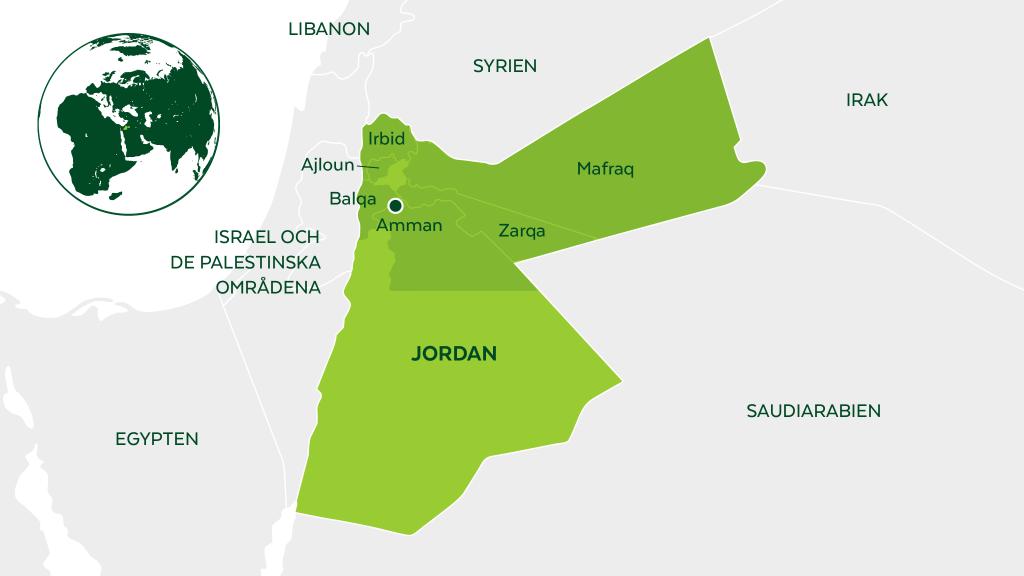 Karta över Jordanien.