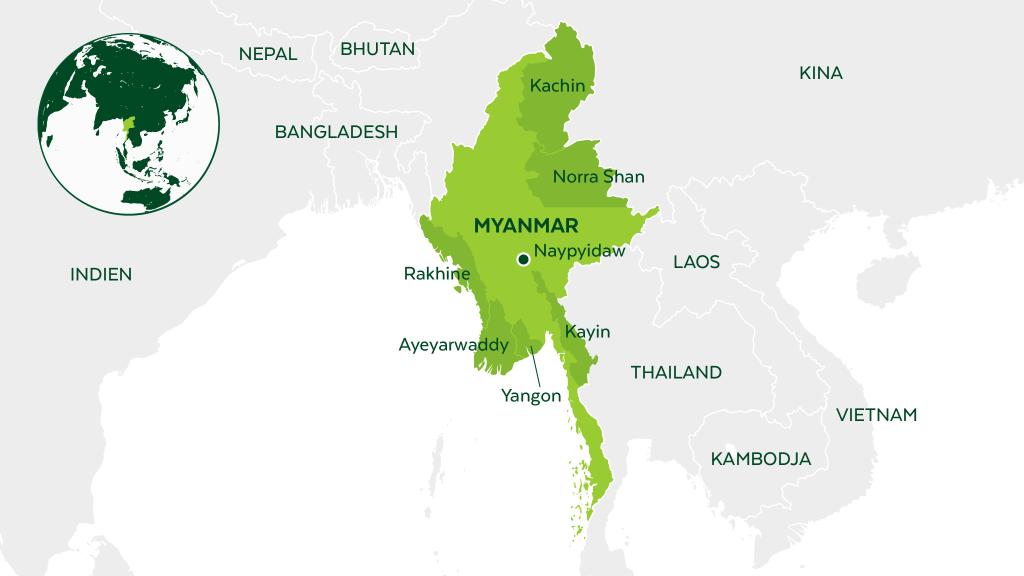 Karta över Myanmar
