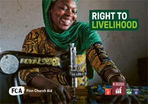 Cover of Right to Livelihood brochure with photo of a woman sitting by a sewing machine and smiling broadly, SDG symbols 5,8,13 and 17.