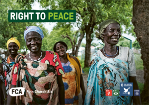 Brochure cover with a photo of a group of women smiling and walking towards the camera under foliage of trees and text Right to Peace and SDG symbols 16, and smaller ones for SDG's 5,13 and 17.