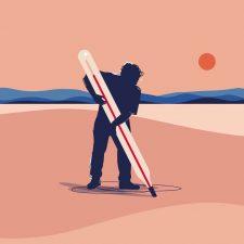 Piirroskuvitus, jossa ihminen mittaa aavikolla itsensä kokoisella lämpömittarilla maan lämpötilaa.