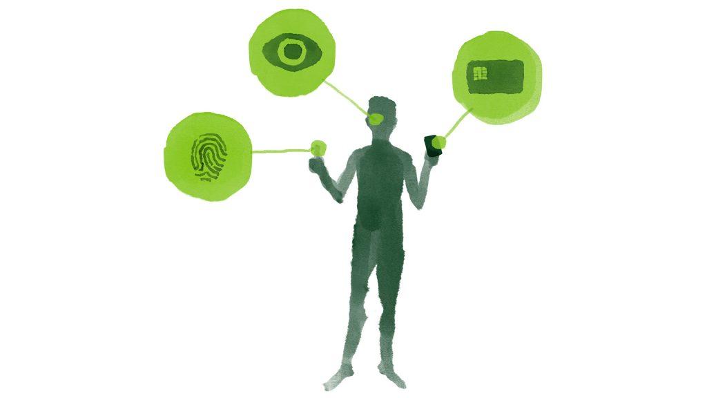 Piirretty hahmo, josta on korostettu symboleilla sormenjälki, silmä ja kädessä oleva älykortti.