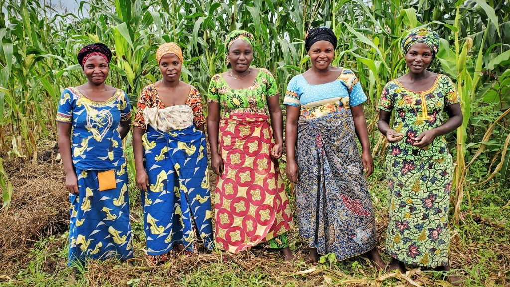 Naiset seisovat maissipellolla
